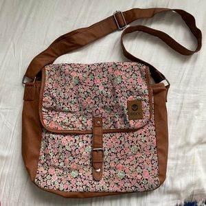 ROXY FLORAL AND TAN LEATHER SIDE BAG